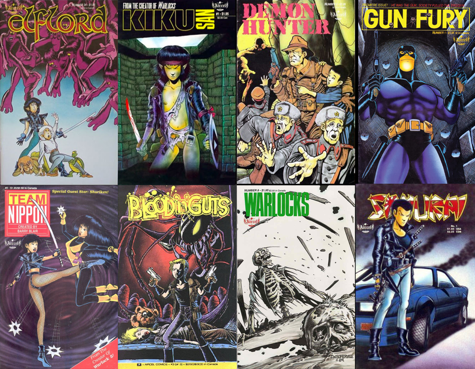 Covers of Barry Blair comics from the late 1980s